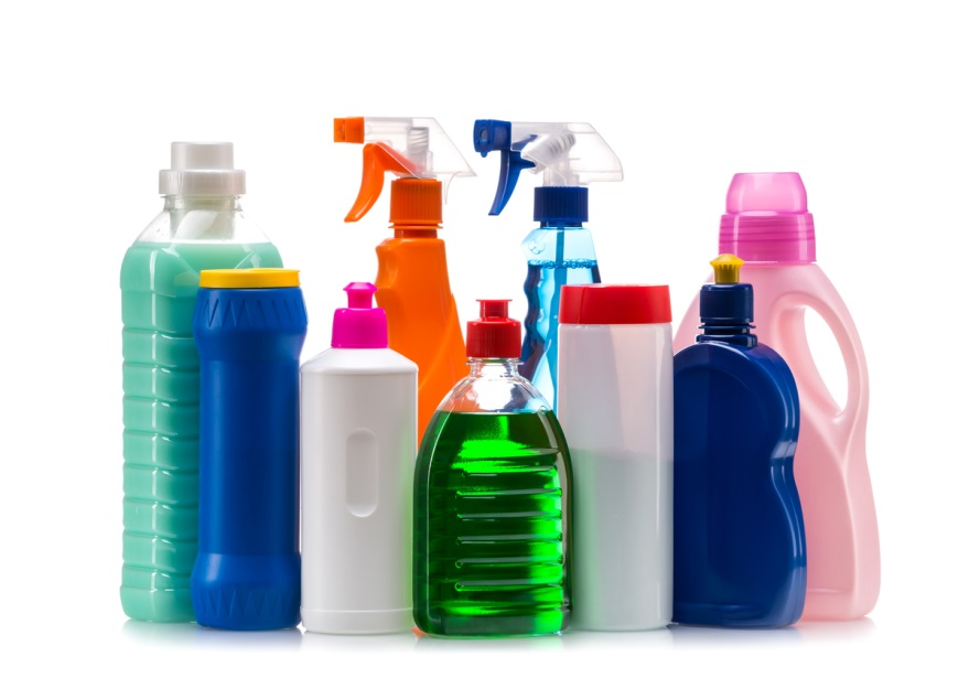 cleaning bottles and sprays